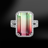 emerald cut multicolor multicolour watermelon tourmaline halo diamonds platinum gold engagement wedding ring october birthstone