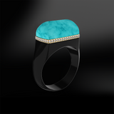 TURQUOISE, DIAMOND & BLACK AGATE Ring