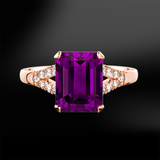 emerald octagonal cut amethyst diamond wedding engagement rose gold ring february birthstone