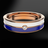 Diamond, Snowflake & Ocean Enamel Rose Gold Ring