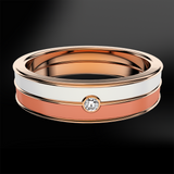 Diamond, Coral & Snowflake Enamel Rose Gold Ring