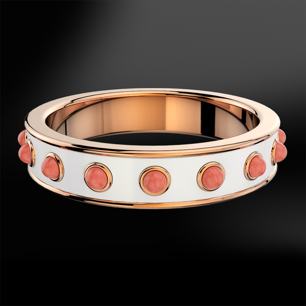 Coral & Snowflake Enamel Rose Gold Ring