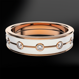 Diamond & Snowflake Enamel Rose Gold Ring