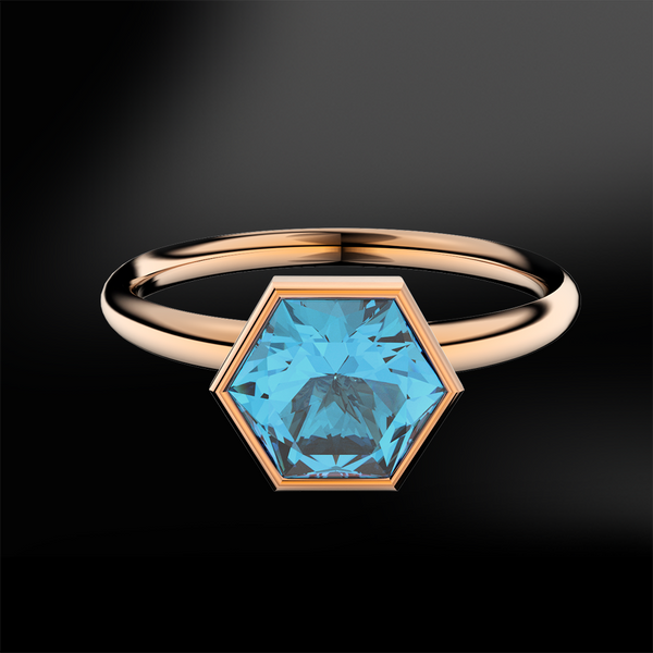 Blue Topaz Hexagonal Ring