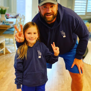 Peace Sign Embroidered Hoodie Navy Unisex (Kids)