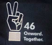 "Load image into Gallery viewer, ""46. Onward together"" Peace Sign T-shirt Navy Unisex (Kids)"