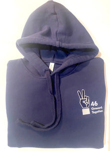 """46 Onward.Together."" Peace sign Embroidered Hoodie Navy Unisex (Adult)"