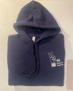 """46 Onward. Together. Peace Sign Embroidered Hoodie Navy Unisex (Kids)"