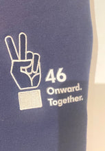 "Load image into Gallery viewer, ""46 Onward.Together."" Peace sign Embroidered Hoodie Navy Unisex (Adult)"