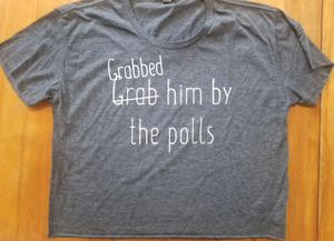 Grabbed him by the polls navy heather tee