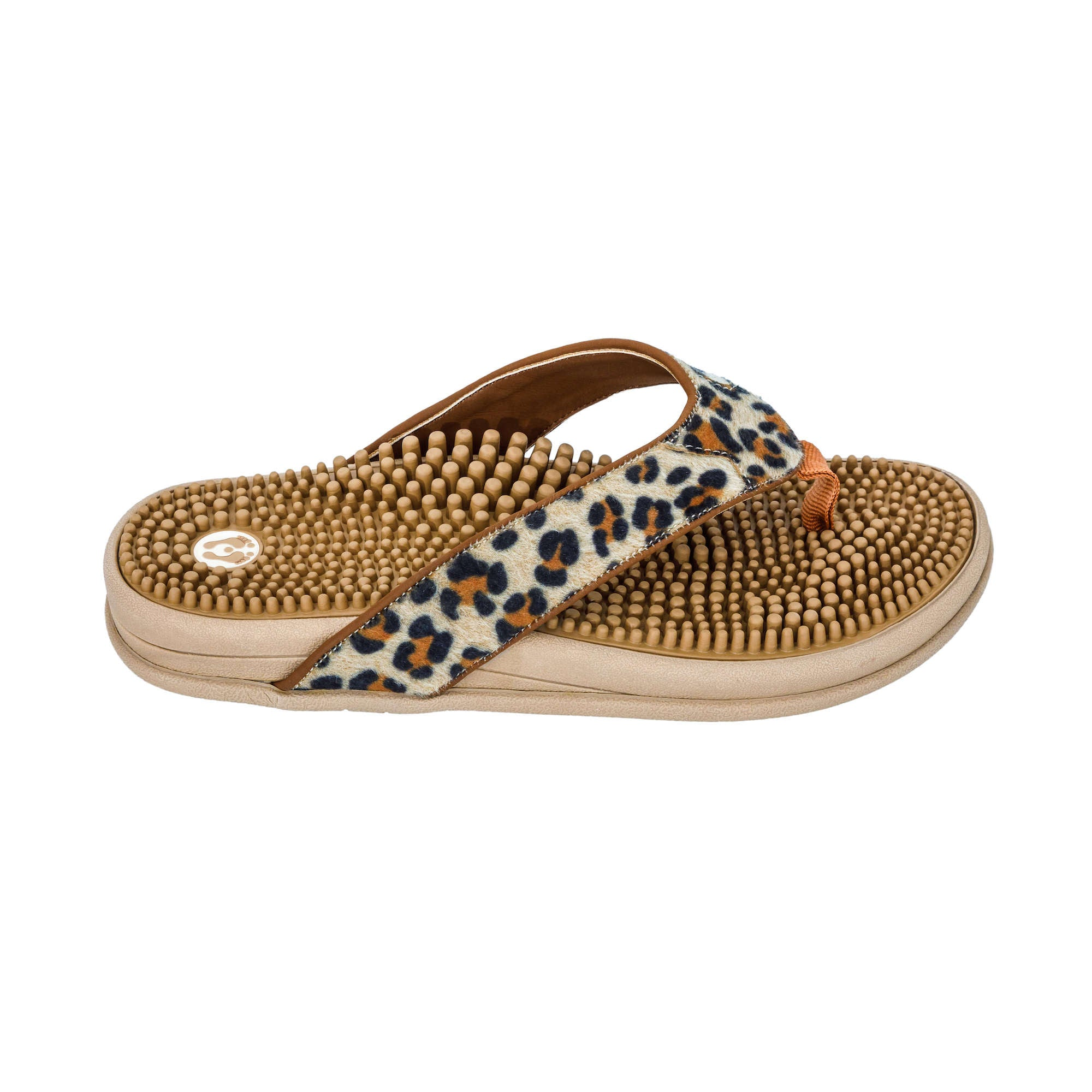 Ladies Reflexology Massage Flip Flops, Leopard