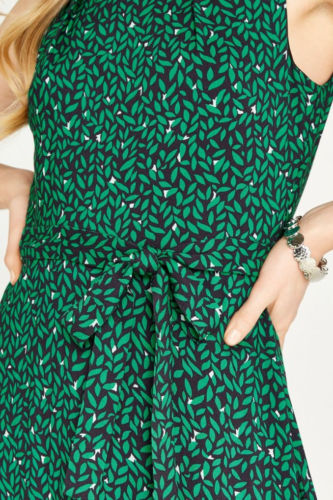APRICOT GREEN LEAF PRINT SKATER DRESS
