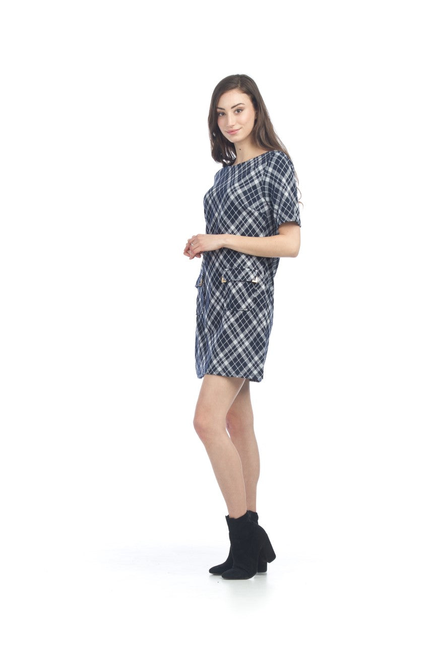 PAPILLON PLAID SWEATER DRESS WITH POCKETS