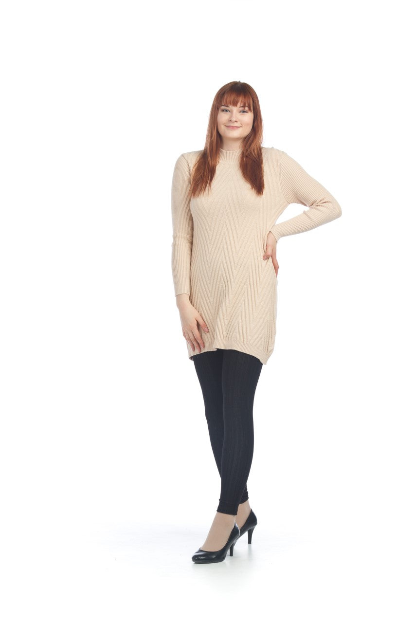 PAPILLON CHEVRON KNIT MOCK NECK CREAM A-LINE SWEATER DRESS