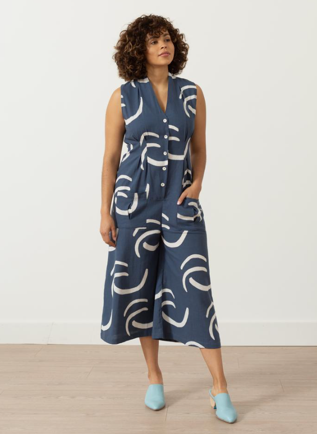 SIMONE ROMPER | NAVY WAVES PRINT - SEEK COLLECTIVE