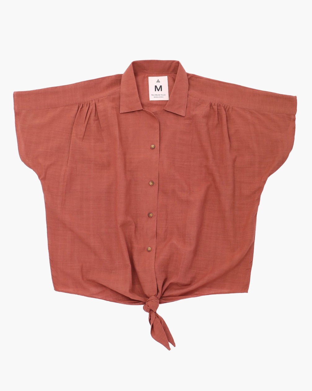 BURGUNDY NATURAL FRONT TIE SHIRT - NEW MARKET GOODS