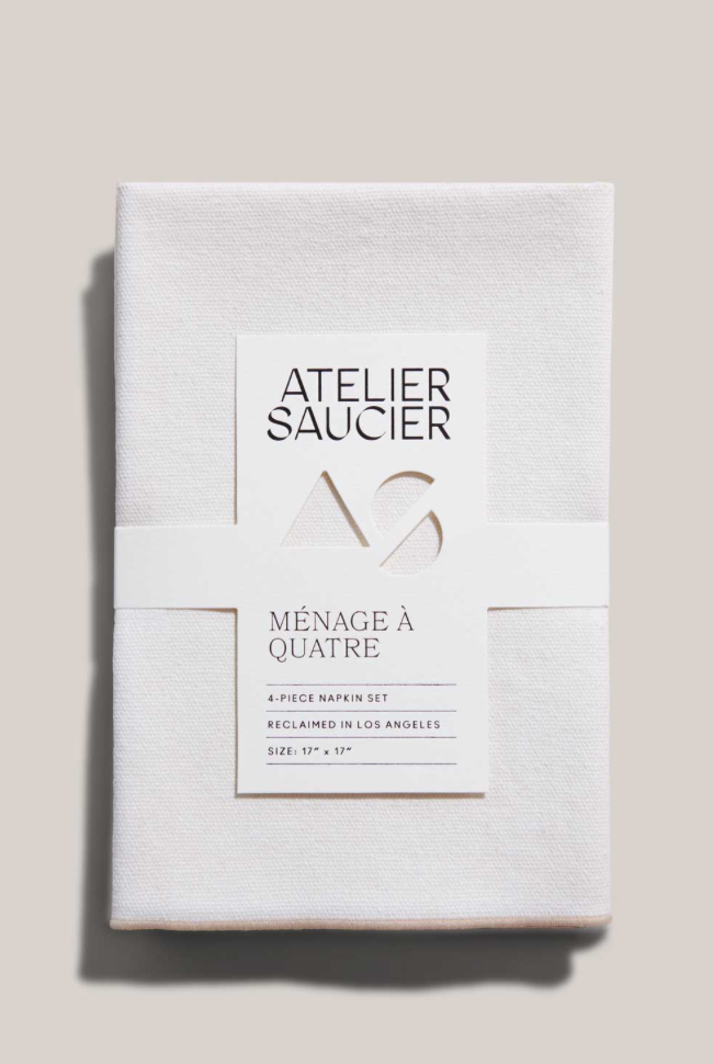 CREAM BURLAP NAPKINS | SET OF FOUR - ATELIER SAUCIER