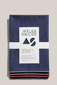 RAINBOW DENIM NAPKINS | SET OF FOUR - ATELIER SAUCIER