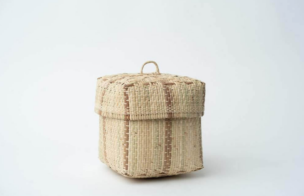 BIDAYUH LIDDED STORAGE BASKET | NATURAL - NEEPA HUT