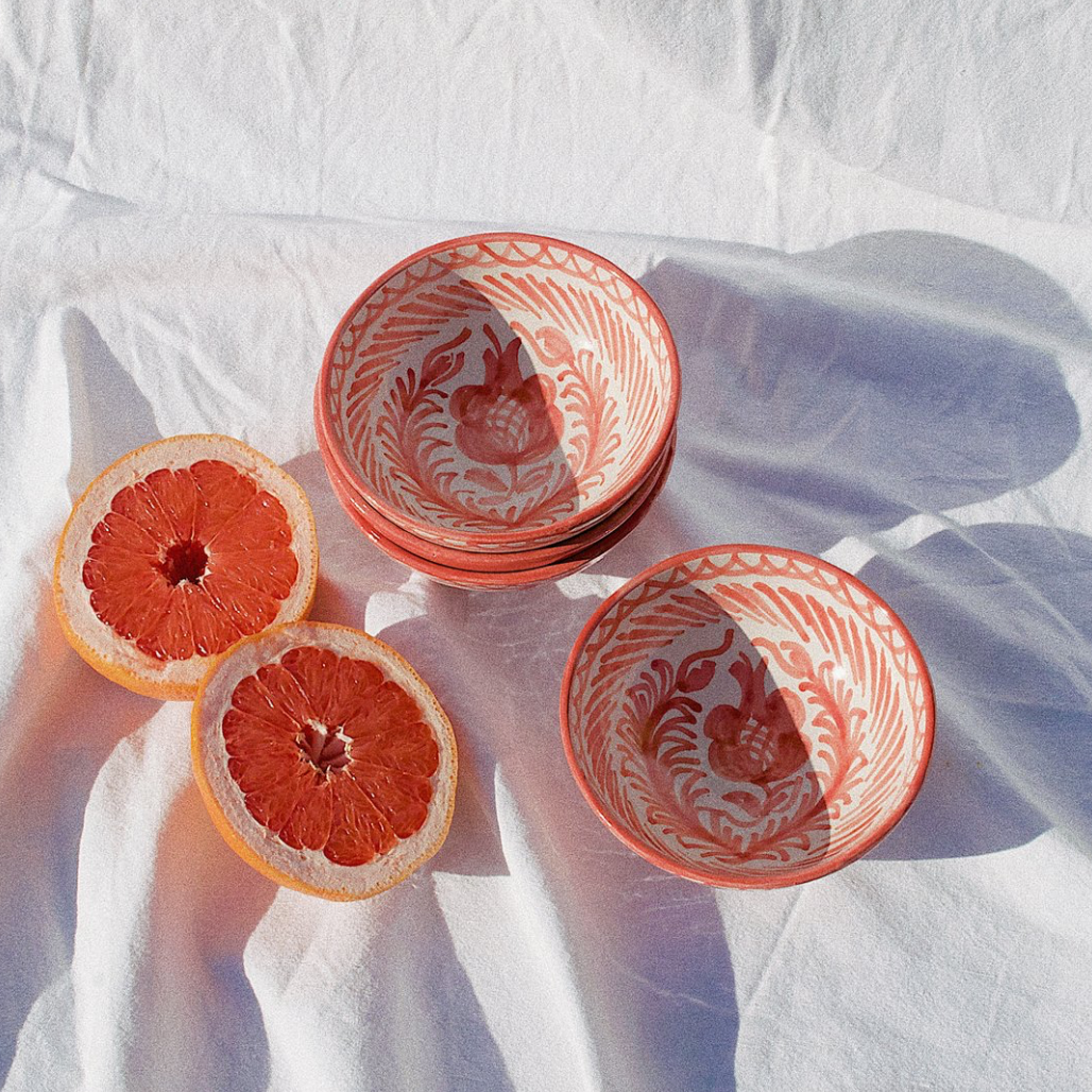 SMALL BOWL WITH HAND PAINTED DESIGN | CORAL - POMELO
