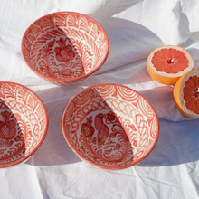 Load image into Gallery viewer, MEDIUM BOWL WITH HAND PAINTED DESIGN | CORAL - POMELO
