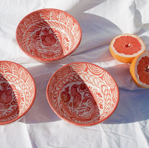 MEDIUM BOWL WITH HAND PAINTED DESIGN | CORAL - POMELO