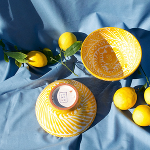 MEDIUM BOWL WITH HAND PAINTED DESIGN | YELLOW - POMELO