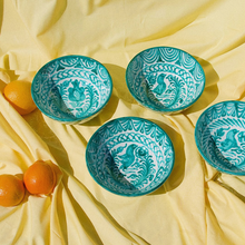 Load image into Gallery viewer, MEDIUM BOWL WITH HAND PAINTED DESIGN | TEAL - POMELO