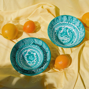 MEDIUM BOWL WITH HAND PAINTED DESIGN | TEAL - POMELO