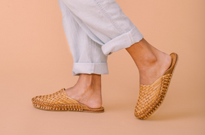 WOVEN SLIDE / NATURAL LEATHER | WOMEN'S - MOHINDERS