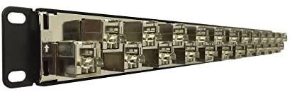 R.J. Enterprises SDPP-24-C6A-SJ Cat6A Patch Panel (Special Design) 568A/B (Tool-Less, 24 Port) - with Individual Fully Shielded Keystone Cat6A Jacks-Data Center- Telecom Room