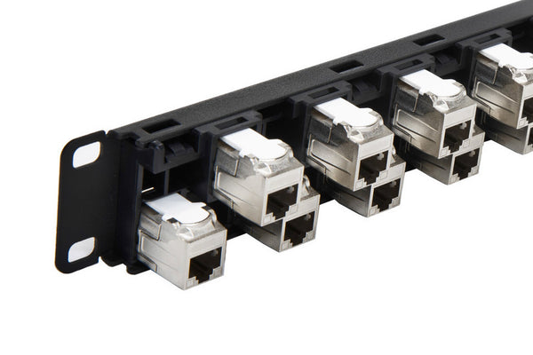 R.J. Enterprises - 3DPP-C6A-24-3D - Staggered, Shielded, Cat6A, 24 Port, Tool-less, Patch Panel