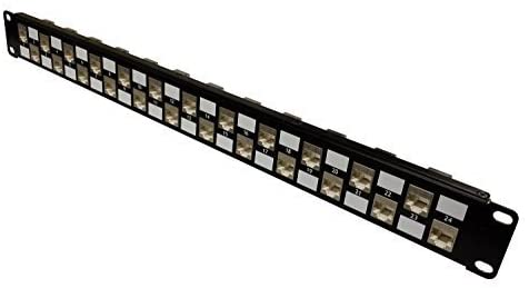 R.J. Enterprises - SDPP-24-C6S - Shielded Patch Panel, Cat6, 568A/B, Tool-Less, 24 Port