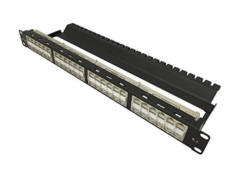 R.J. Enterprises - HDPP-C6-48S,No Punch Down,Cat6, Patch Panel (10 Gig, Tool-Less,Feed Through, Shielded, High Density) 48 Ports in 1U-Data Center- Telecom Room-Rack Mount-Space Gain