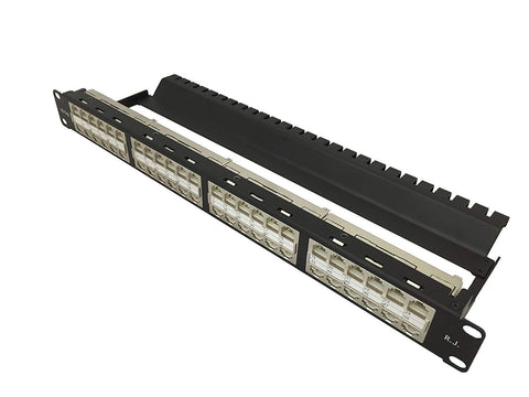 R.J. Enterprises - HDPP-48S-C6A - Shielded High Density Patch Panel, Cat6A 10Gb, Tool-Less, 48 Port