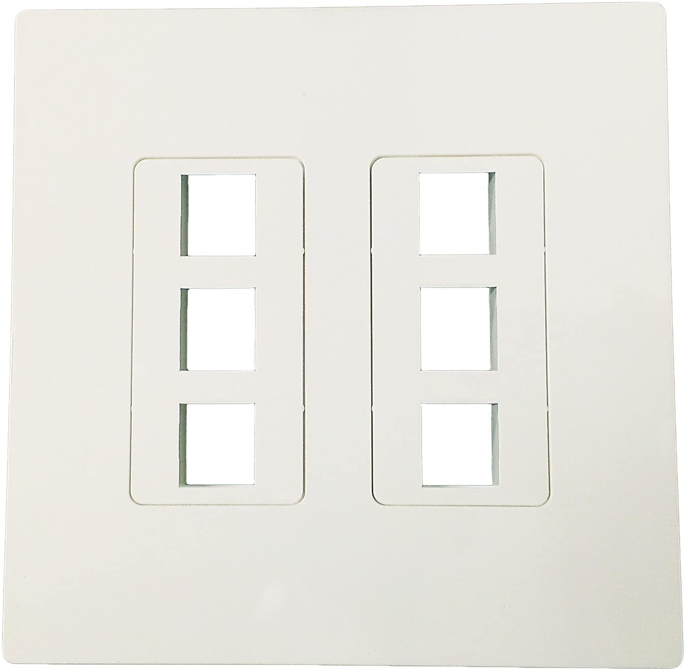 R.J. Enterprises - Screwless Snap-on Wallplate 2-Gang 6 Port RJ-2013B-S6