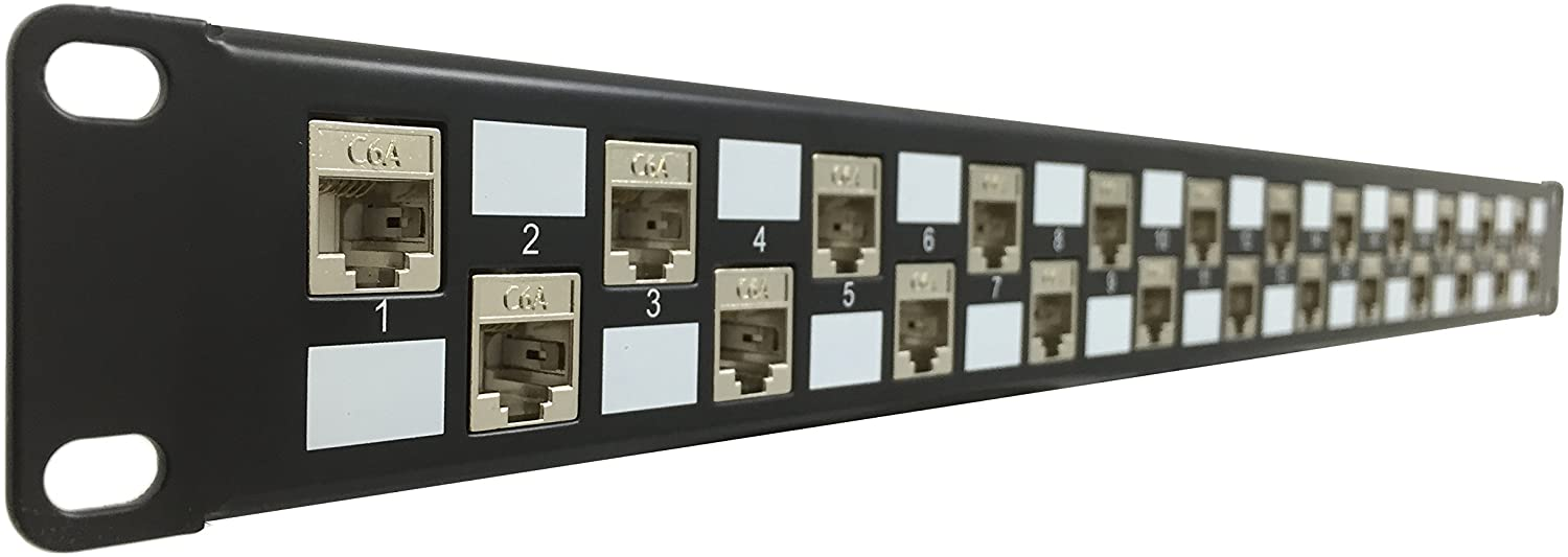 R.J. Enterprises - SDPP-24-C6A-SJ - Patch Panel, 568A/B, Tool-Less, Shielded Keystones, 24 Port