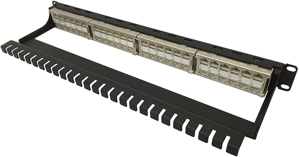 R.J. Enterprises - HDPP-C6-48S - Shielded High Density Patch Panel, 10 Gb, Tool-Less, 48 Port