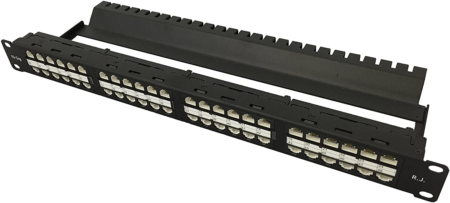 R.J. Enterprises -HDPP-C6-48 No Punch Down,Cat6, Patch Panel (10 Gig,Tool-Less, Feed Through, High Density) 48 Ports in 1U-Rack Mount-Data Center- Telecom Room-Rack Mount,Collocation