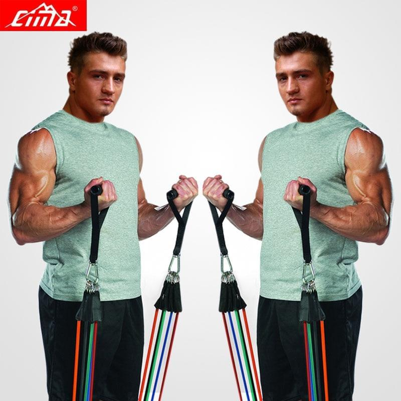 Resistance Bands 11 PCS Fitness loop ropes Set | Gym Equipment Exercise Handles trainer - Fitness Flow