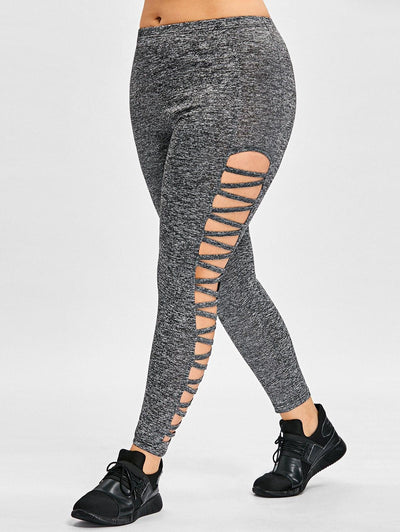 Plus-Size Pencil Leggings Hollow Out High Waist Fitness