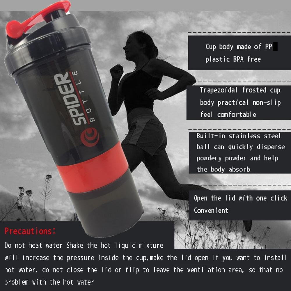Sports Shaker Bottle - Whey Protein Mixer - Fitness Flow