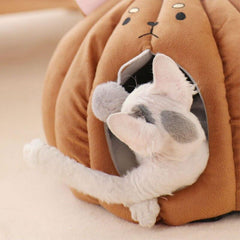 Adorable Animal Face Cat Bed | Warm and comfortable bed for your sweet kitten - FANTASY BIG STORE