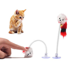 Fake feathery mouse with spring and suction cup | Game for Cats - FANTASY BIG STORE