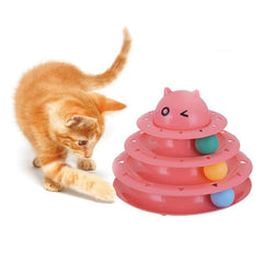 Interactive cats play tower with colored rotating balls | Multilevel game - FANTASY BIG STORE