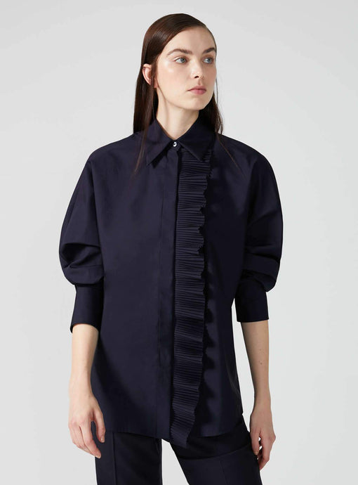 Golena Ruffle Front Cotton Shirt