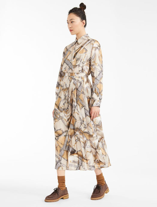 Karim Silk Printed Pleated