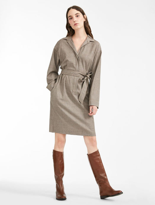 Sonia Wool Wrap Tie Shirt Dress