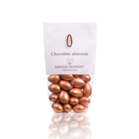 Chocolate almonds - White chocolate (caramel flavor) & Copper metallic