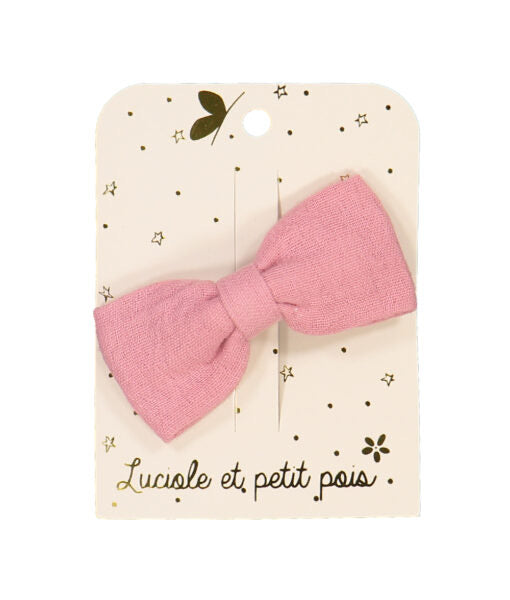 SPELD long bow hair clip pink double gauze